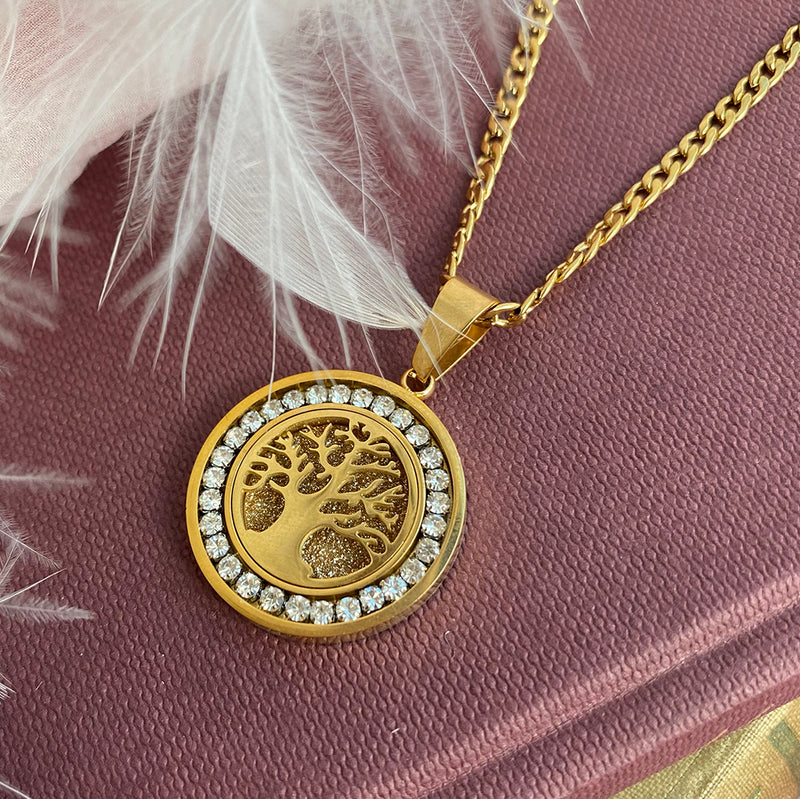 Gold Plated Stainless Steel Tree of Life Necklace