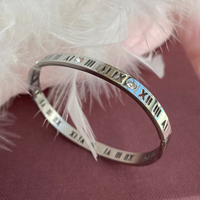 Roman Numeral & Crystal Stainless Steel Bangle