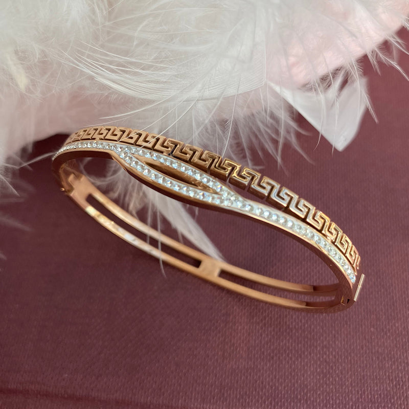 Rose Gold Plated Stainless Steel & Crystal Bangle