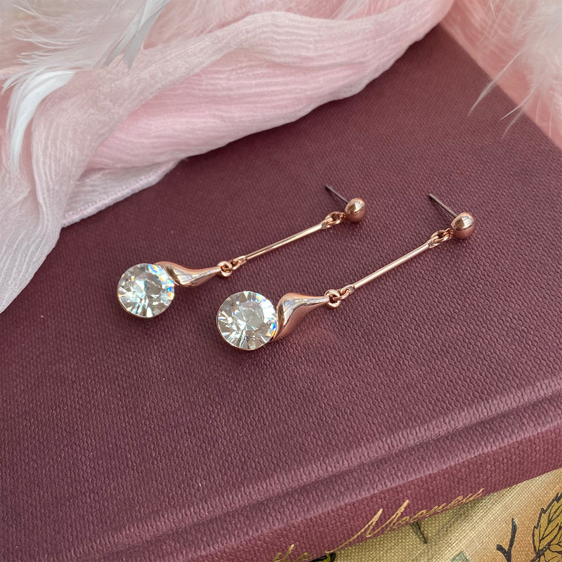 Rose Gold & Crystal Earrings