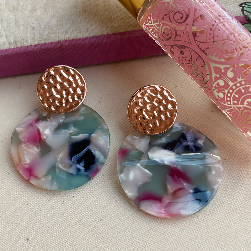 Stainless Steel Rose Gold Plated Pink/Grey/White Tortoiseshell Drop Earrings