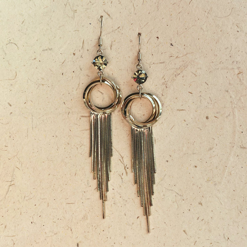Platinum Plated Champagne Gold Tassel Earrings