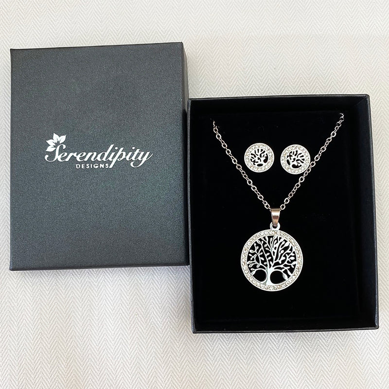 Cubic Zirconia Stainless Steel Tree of Life Set