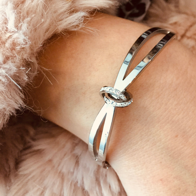 Stainless Steel Diamante Bangle