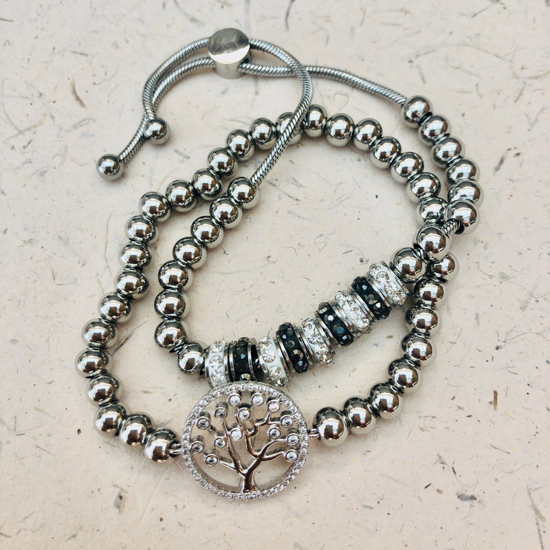 Stainless Steel & Cubic Zirconia Twin Set of Tree of Life Bracelets