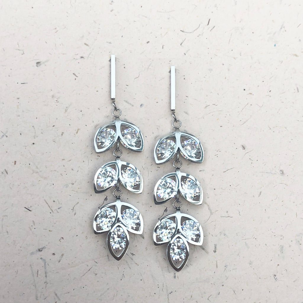 Cubic Zirconia Stainless Steel Drop Earrings