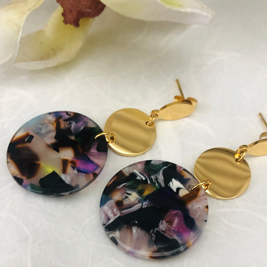 Gold Plated Small Pink/Black/White Tortoiseshell Drop Earrings