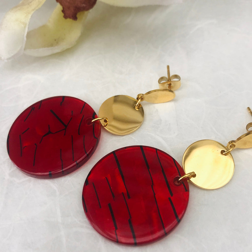 Gold Plated Small Red Tortoiseshell Drop Earrings