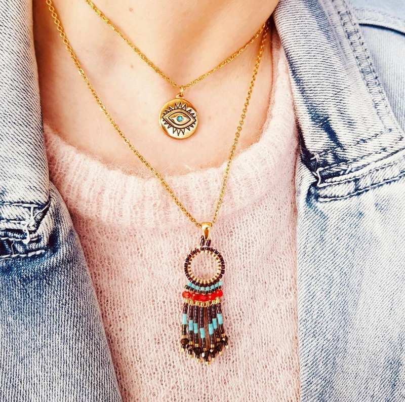 Boho Gold Plated Stainless Steel Necklace