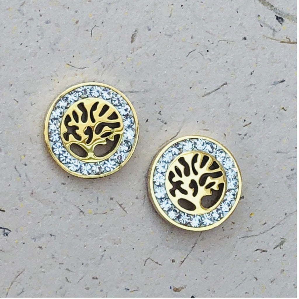 Cubic Zirconia Gold Plated Stainless Steel Tree of Life Stud Earrings