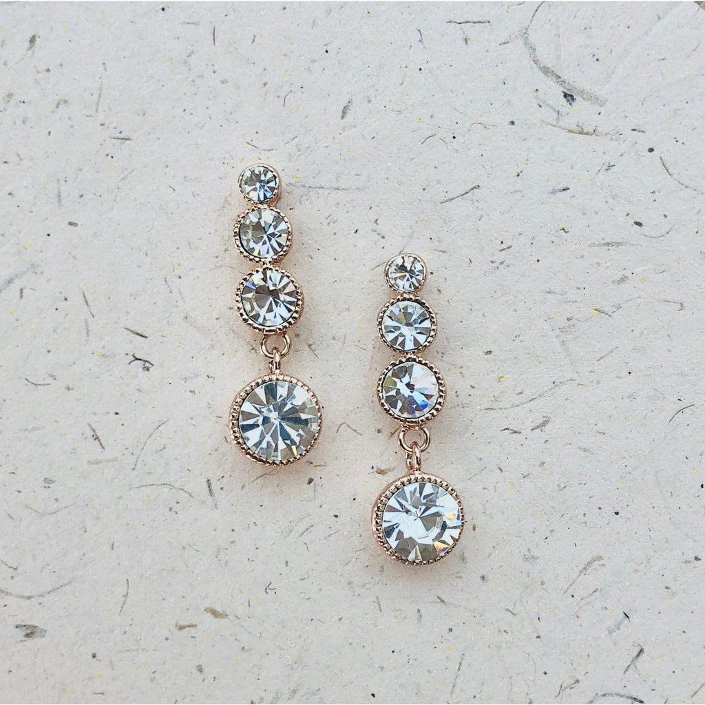 Cubic Zirconia Rose Gold Platinum Plated Earrings