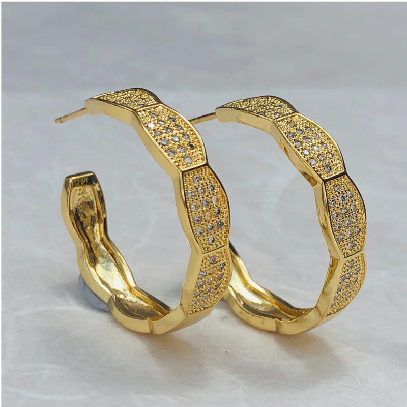 Cubic Zirconia Gold Hoop Earrings