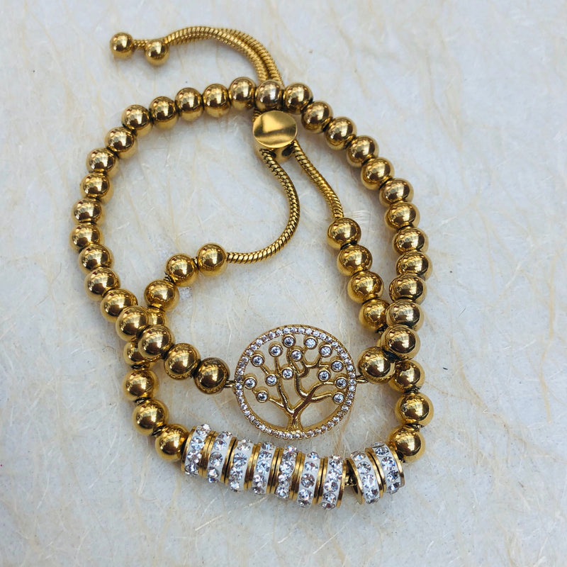 Gold Plated Stainless Steel & Cubic Zirconia Twin Set of Tree of Life Bracelets