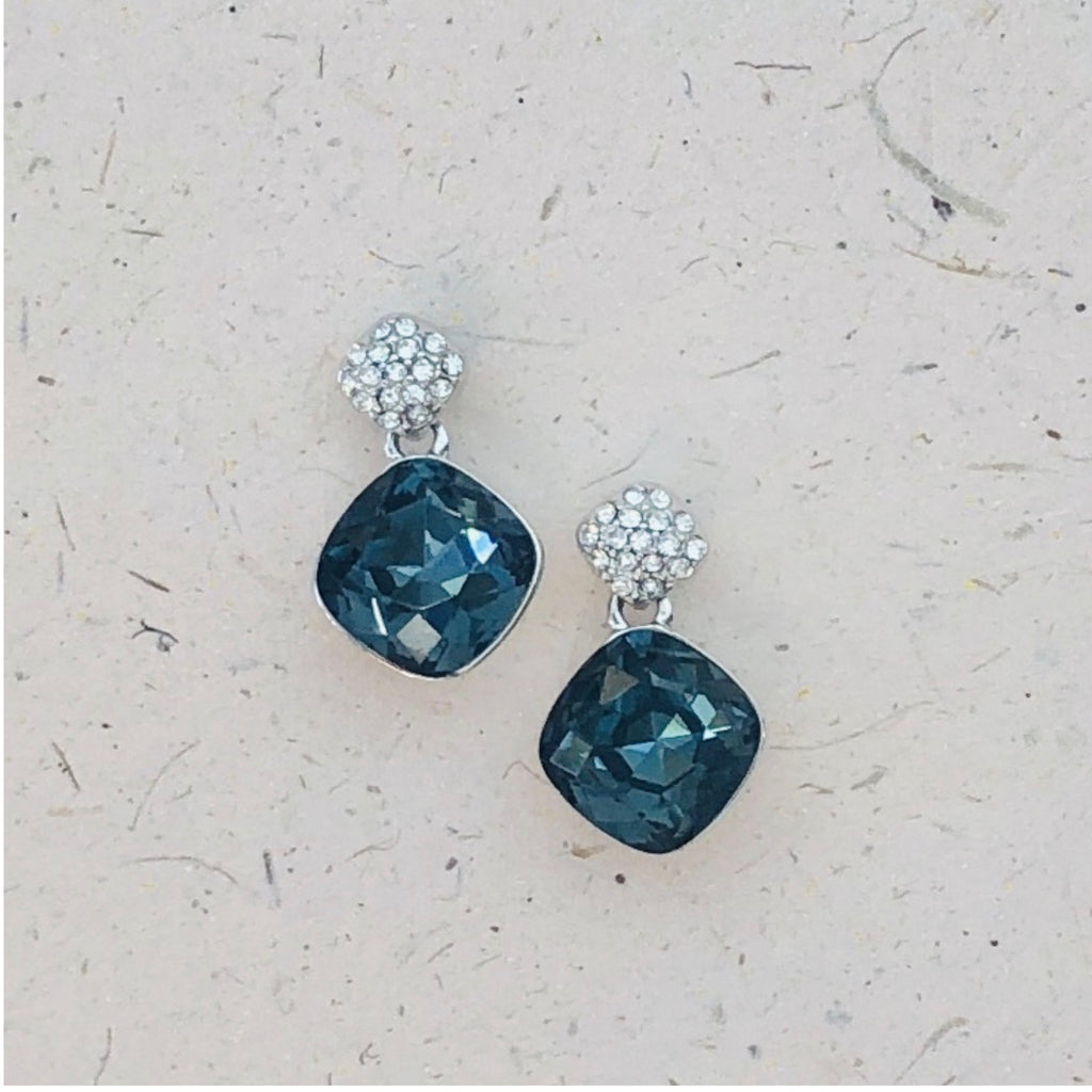 Platinum Plated Blue Cubic Zirconia Earrings