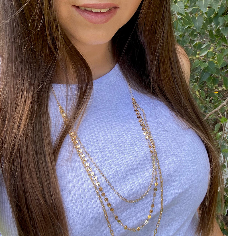 Gold Triple Layered Necklace
