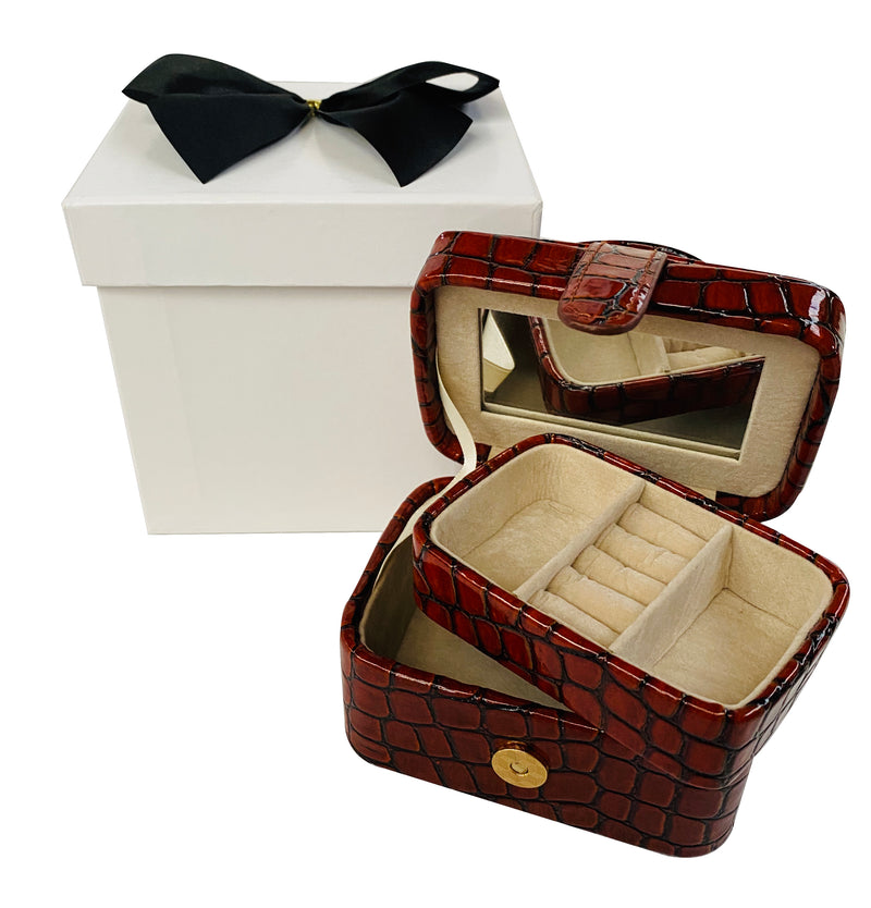 Jewellery Case - Croc Style Print with Mirror