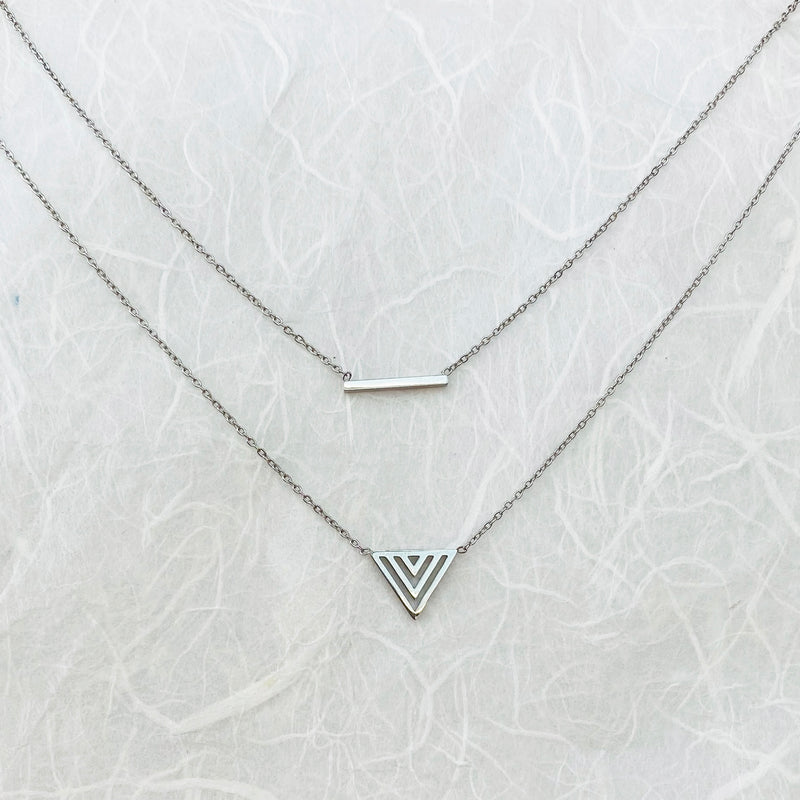 Stainless Steel Layered Bar and Arrow Necklace