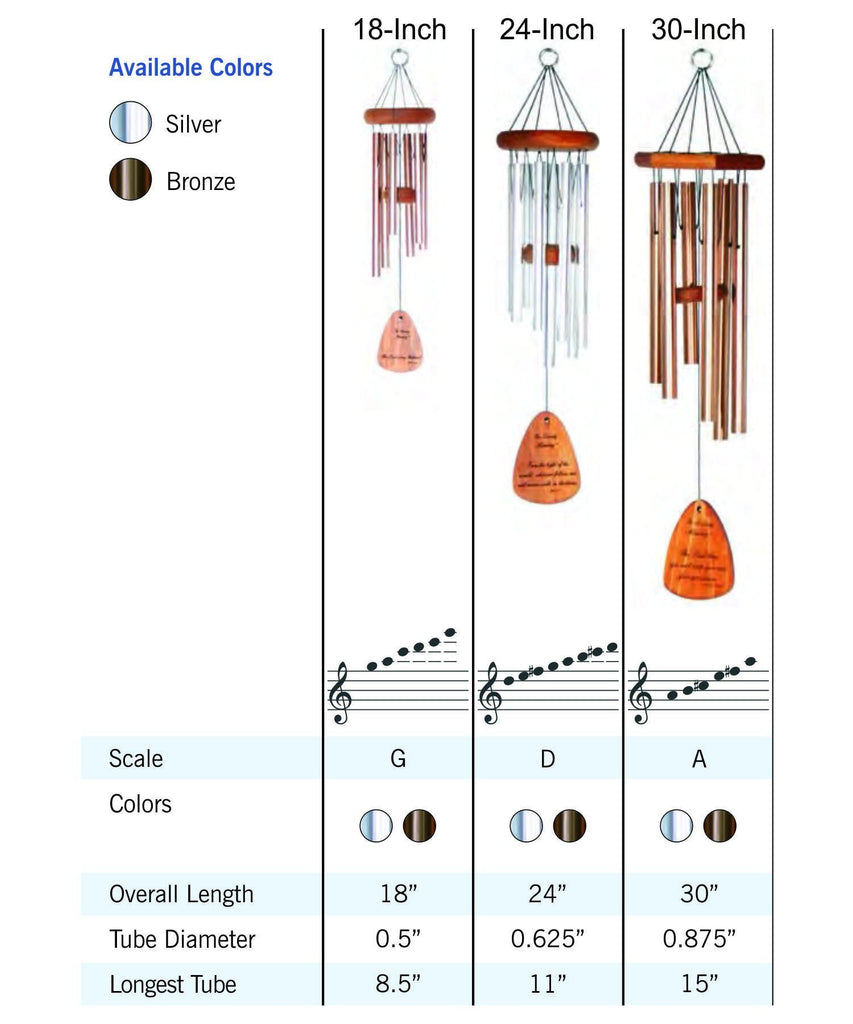 Memorial Wind Chime Sizes