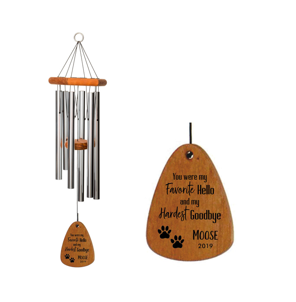 Loss of Dog Memorial Wind Chime 18-Inch Silver, Favorite Hello Hardest Goodbye, Loss of Dog Memorial Gift, Loss of Dog, Pet Memorial