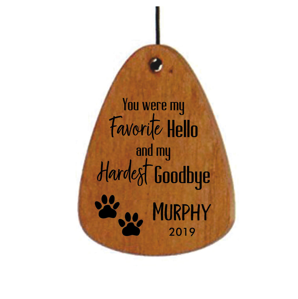 Dog Memorial Wind Chime-18 Inch Bronze, Favorite Hello Hardest Goodbye, Loss of Dog Memorial Gift, Loss of Dog, Pet Memorial Wind Chime