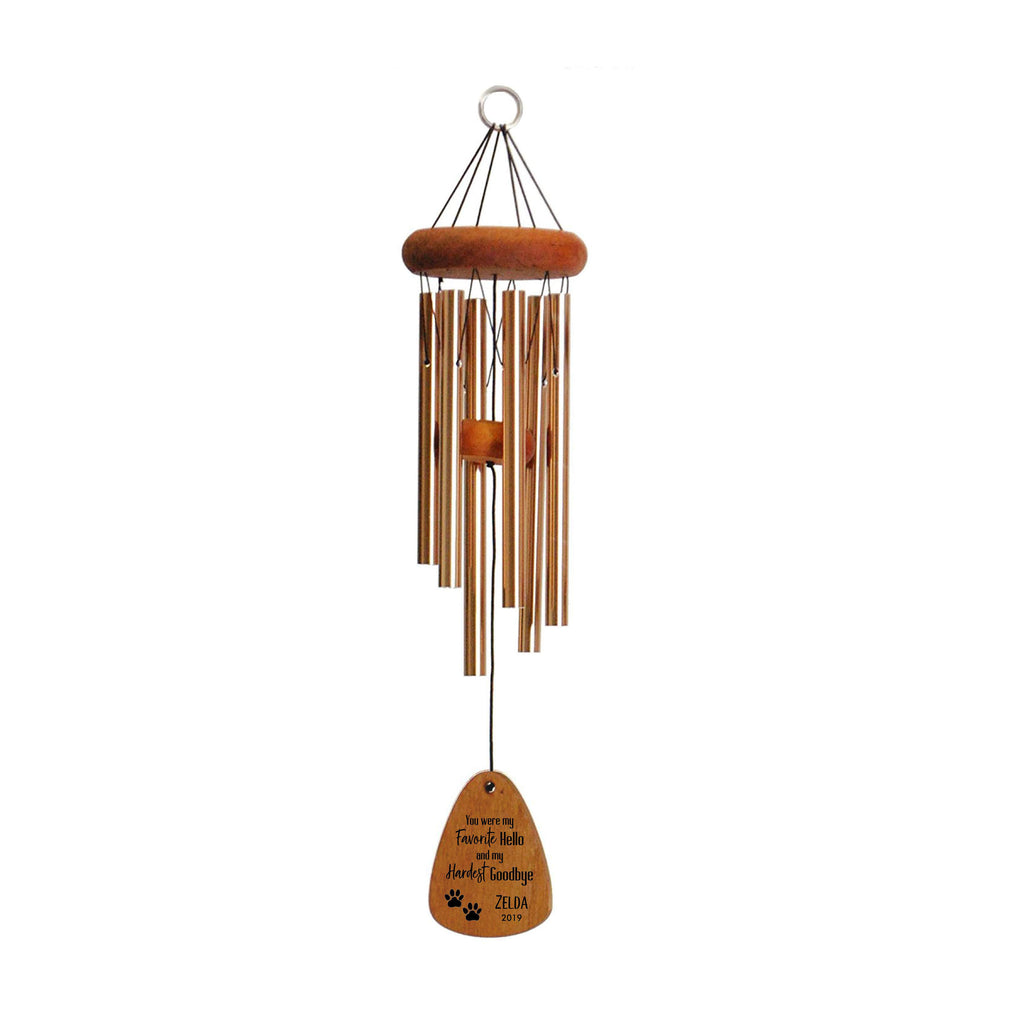 Pet Memorial Wind Chime for Loss of Dog, 30-Inch Bronze, Favorite Hello Hardest Goodbye, Loss of Dog Memorial Gift, Loss of Dog