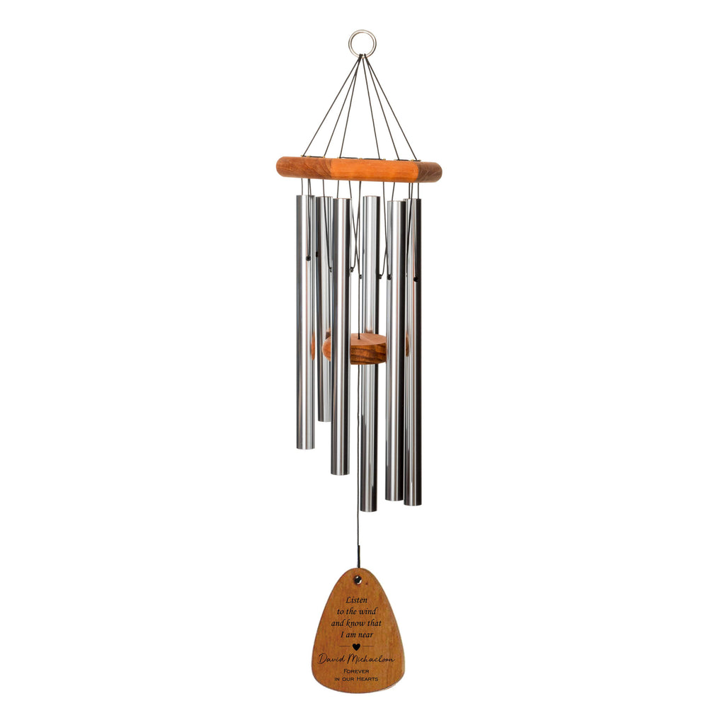 30-Inch Memorial Wind Chime - Silver | Listen to the Wind with Heart | Sympathy Gift | Bereavement Gift | Memorial Gift | In Memory of
