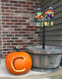 pumpkin on porch for halloween