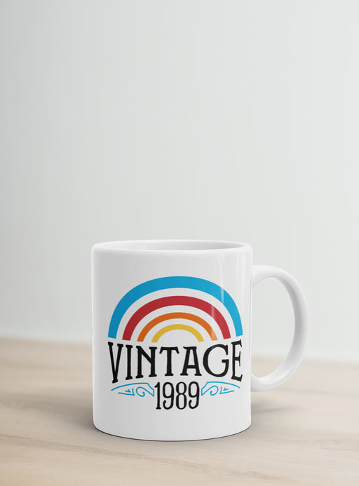 30th Birthday Coffee Mug - Vintage 1989 Rainbow