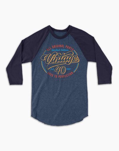 Vintage 40 Birthday Baseball Tee