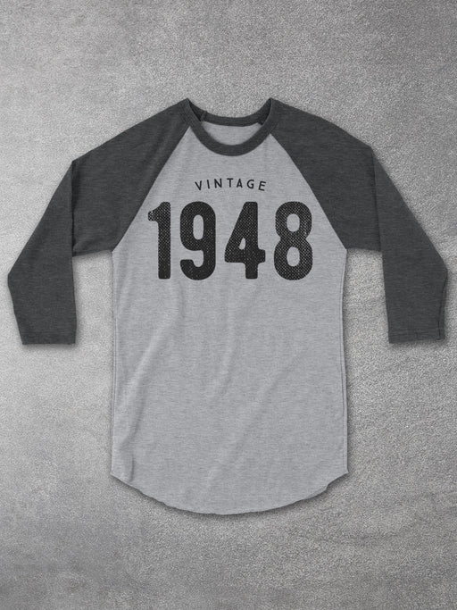 Birthday Shirts-Vintage 1948 Baseball Tee