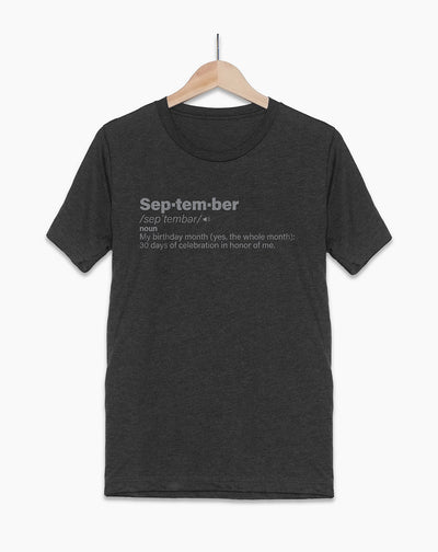 September Definition Birthday Shirt