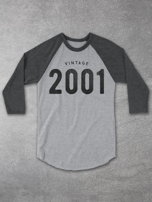 Birthday Shirts-Vintage 2001 Baseball Tee