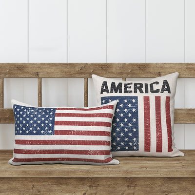 America Vintage Flag Pillows | July 4th Decor