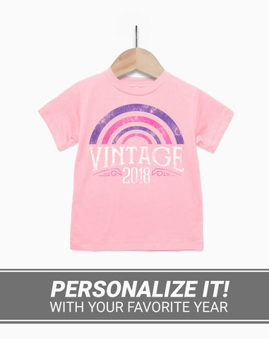 Girls Custom Birthday Shirt - Vintage Year Rainbow