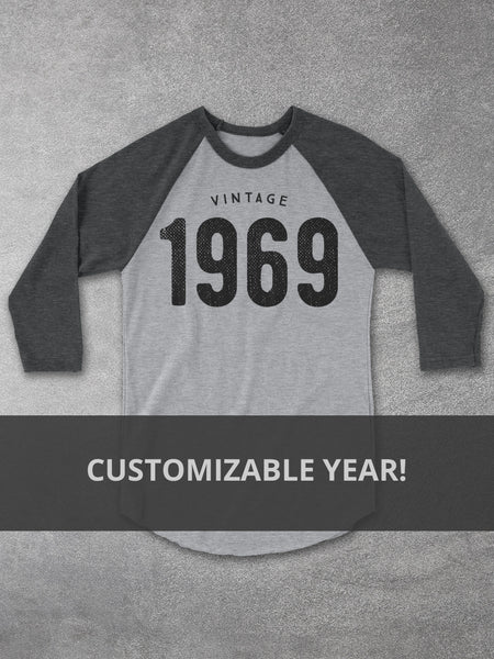 Custom Vintage Year Baseball Tee - Hello Floyd Graphic Tees