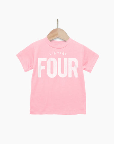 Vintage Four Year Old Girl - 4th Birthday Shirt