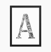Custom Initial Framed Newspaper Wall Art Print