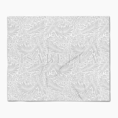 Gray & White Floral Blanket - Personalized Name Throw Blankets