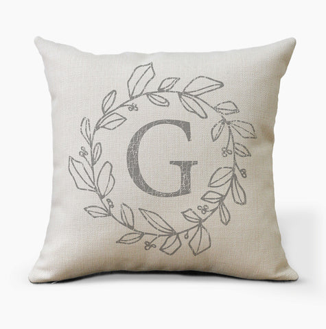 Initial Monogram Letter Wreath Pillow