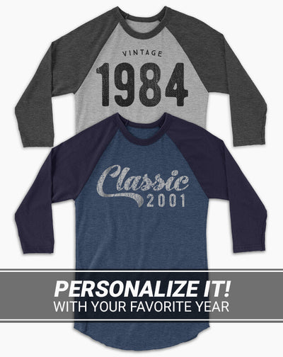 Custom Birthday Year Baseball Tee