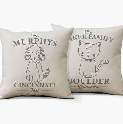 Personalized Dog & Cat Farmhouse Pillow