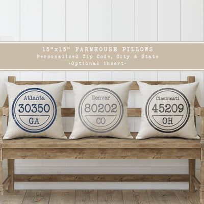 Personalized Zip Code Stamp Pillows