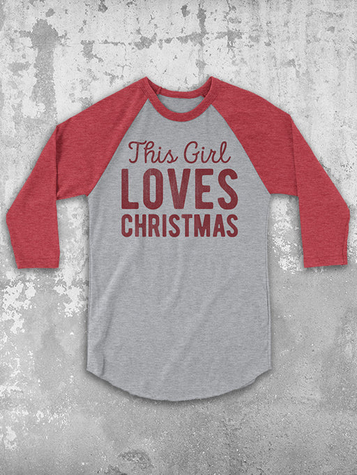 Birthday Shirts-This Girl Loves Christmas Baseball Tee