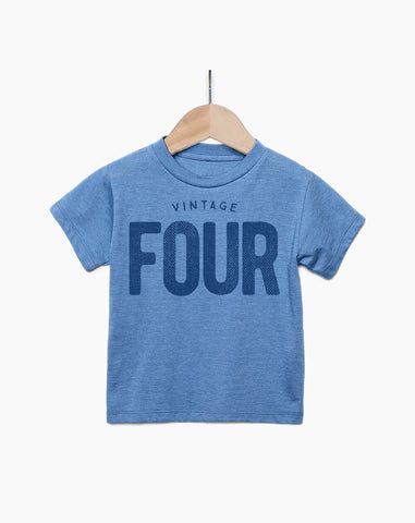 Vintage Four Year Old Boy - 4th Birthday Shirt