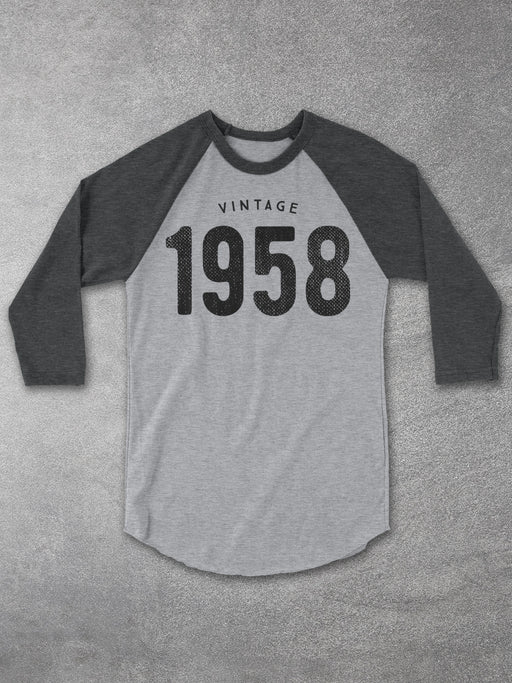 Birthday Shirts Vintage 1958 Baseball Tee