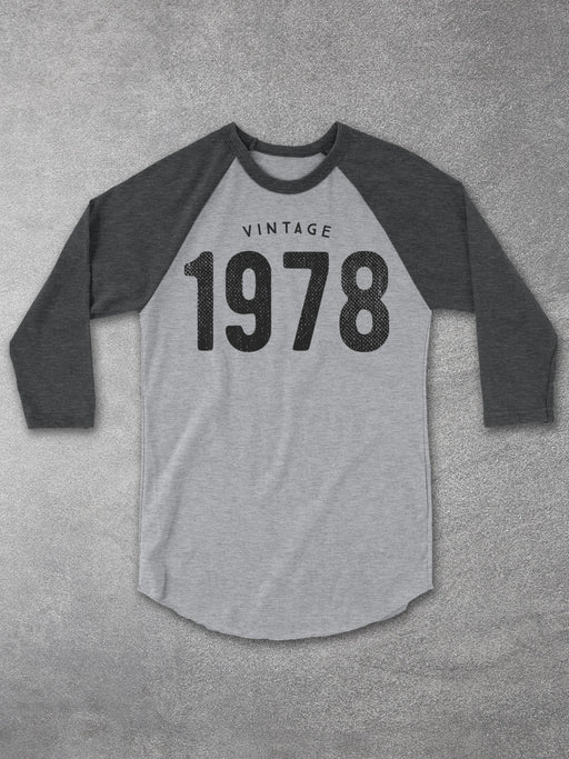 Birthday Shirts-Vintage 1978 Baseball Tee