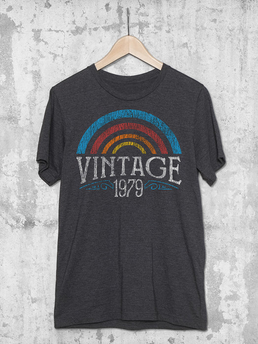 Personalized Vintage Year Rainbow Birthday T-Shirt