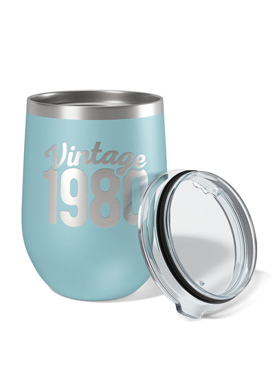Vintage 1980 40th Birthday Wine Tumbler