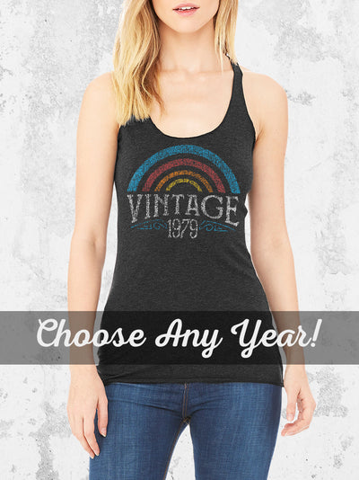 Women's 40th Birthday Rainbow Vintage 1980 Tank Top