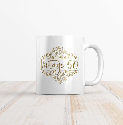 Vintage 50 Gold Wreath Birthday Mug